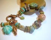 Turquoise Wind - Copper Gemstone & Mixed Material Bracelet