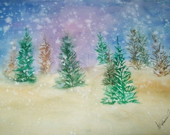 Original Watercolor Painting, Winter Forest Watercolor Painting, Original Artwork, watercolor art, Original painting,wall decor