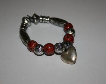 Red, Orange and Silver Bracelet with Heart Pendant