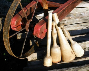 Vintage Collection of 4 Primitive Wooden Pounders, Potato Mashers, Pestle FREE Shipping