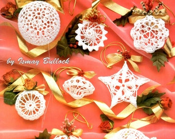 Crocheted Christmas Romance Ornaments Pineapple Star Ball White Starched Oval Hexagon Lace Tree Trims Ornaments Craft Pattern Leaflet 1088