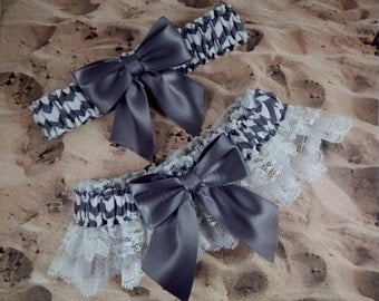 Gray White Chevron White lace Gray Bow Bridal Wedding Garter Set Toss