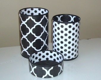 CHOOSE Your COLOR Quatrefoil Desk Accessories, Polka Dot Pencil Holder, Pencil Cup, Desk Organization, Office Decor - 872