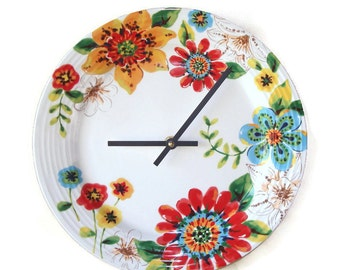 Floral Wall Clock / Ceramic Plate Clock / Kitchen Clock / Spring Summer Flowers Wall Clock / Unique Wall Decor / 1682