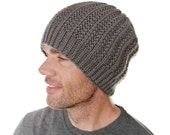 Mens Slouchy Beanie Hayden Chunky Taupe Gray Hat Hand Knit Merino Wool Size M/L Gift Wrapped