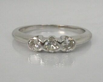 Vintage Diamond Wedding Ring - Three Stone Ring - 0.42 Carats - 14K White Gold