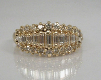 Vintage Diamond Wedding - Cocktail Ring - 1.12 Carats Baguette and Round Brilliant Cut Diamonds - Appraisal Included