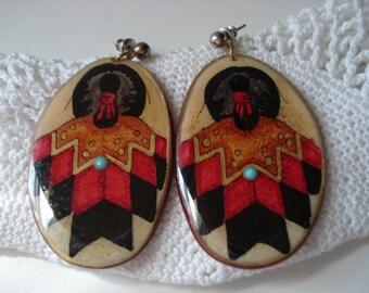 SALE Vintage Native American Sterling Silver R. C. Gorman Inspired Earrings Handpainted Southwest Taos Santa Fe New Mexico