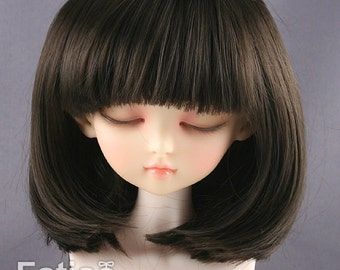 Fatiao - New Dollfie MSD Kaye Wiggs 1/4 BJD Size 7-8 inch -Dark Brown Dolls Wig