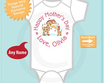 Happy Mother's Day Onesie,  Personalized Mothers Day Onesie or Tee shirt with Cute Giraffes, New Mom Gift (04172015f)