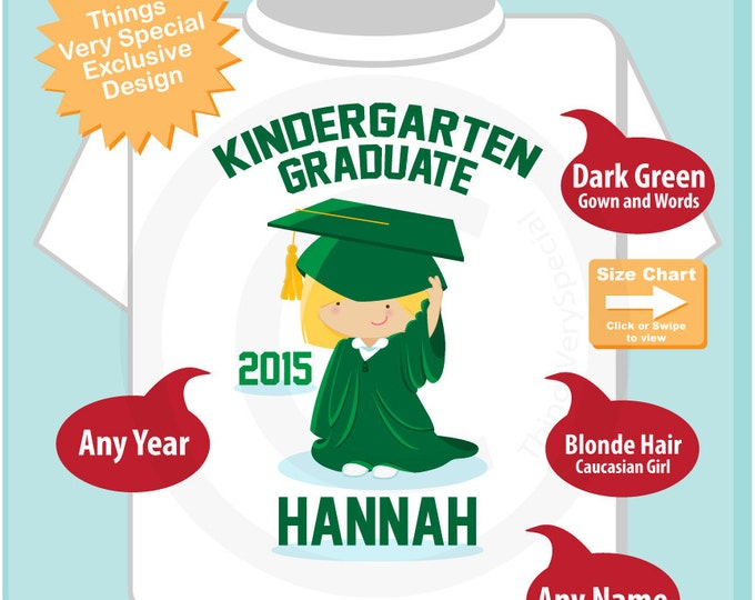 Personalized Kindergarten Graduate Shirt Kindergarten Graduation Shirt Child's Cap and Gown Shirt or Onesie (05132015a)