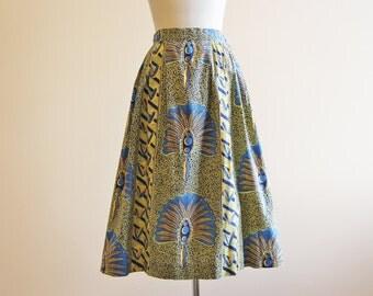 50s Skirt - Vintage 1950s Skirt - Novelty African Block Print Full Cotton Skirt S - Hand Fans