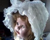 Beautiful Vintage Sheer & Lace White Baby Bonnet