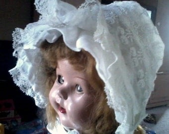 Beautiful Vintage Sheer & Lace White Baby Bonnet