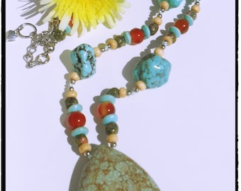 Beaded Turquoise Necklace - costume jewelry