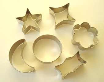 Vintage cookie cutters, set of 6, stainless steel moon, star, cloud, Sears Maid of Honor brand, mid-century kitchen, baking equipment