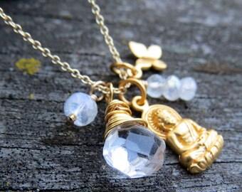 Yoga Necklace, Gold Buddha Necklace, Buddha Necklace, Yoga Jewelry, Charm Necklace, Gemstone Necklace, Chakra Necklace, Buddha Charm Jewelry