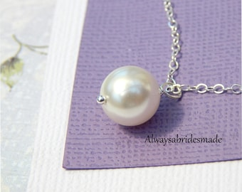 Simple Pearl Necklace, Solitaire Necklace, Sterling Silver Jewelry.Bride Necklace.Bridesmaids necklace,Flower Girl necklace,maid of honor,
