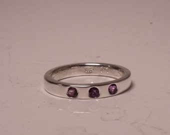 Sterling Silver Ring with 3 Amethyst Stones RF517