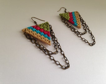 Grid Weaved Chained Earrings