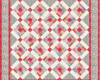 PDF Copy - Lap Quilt Pattern - Scrappy Modified Log Cabin Quilt Pattern