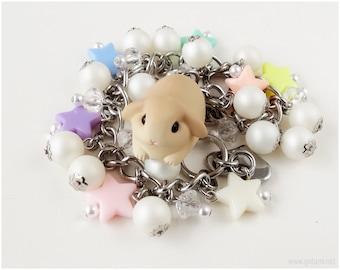 Bunny Rabbit Kawaii Bracelet, Pastel Colors, Charm Bracelets, Pearl Cluster, Fairy Kei, Sweet Lolita