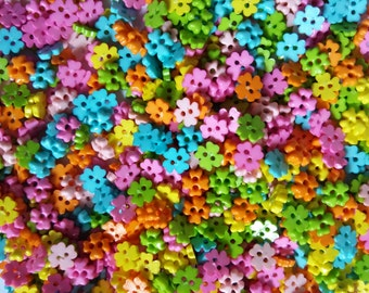 100 pcs Tiny clover flower button 6 mm Mix pastel color