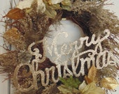 Merry Christmas Wreath Glitter Silver/Gold SALE