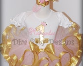 Pink and Gold Birthday Outfit  -Metallic Ribbon trim tutu Personalized puffy sleeve romper with any number and name