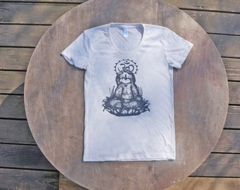 Meditating Sloth / Om / Yoga inspired T Shirt / American Apparel Tri-Blend Tee for Women in Natural White / Oatmeal color