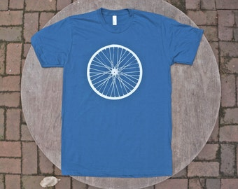 Giant Bicycle Wheel T-Shirt / Organic Cotton American Apparel Tee / Galaxy Blue Tshirt / Men's / Unisex Tee