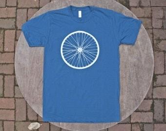 Giant Bicycle Wheel T-Shirt / Organic Cotton American Apparel Tee / Galaxy Blue Tshirt / Men's / Unisex Tee