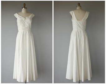1940s Dress | 40s Dress | 40s White Cotton Dress | 40s Wedding Dress
