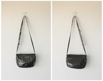 Vintage Saddle Bag | Foldover Flap Bag | Black Shoulder Bag | Crossbody Bag | Black Leather Purse