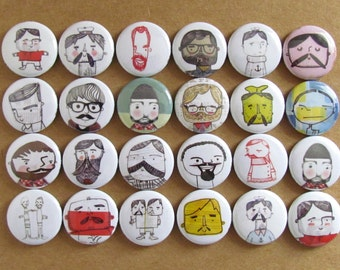 "Macho Doodle 1"" Pins or Magnets - Lumberjack, Sailors, Bearded Men Doodle Images - PICK your OWN favorites - Refrigerator Magnets"
