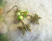 Green Butterfly Beaded Earrings, Bronze Filigree Butterfly Garden Earrings