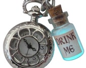 Alice in Wonderland pocket watch necklace Victorian pendant charm GLOW in the dark - Fairy Angel magical dust-aqua drink me bottle pw1