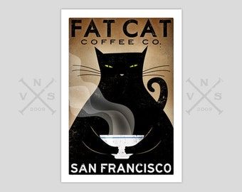 Free CUSTOMIZE PERSONALIZE Fat Cat Coffee Cafe Company Black Cat Graphic Art Illustration Print