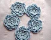 Light blue crochet flowers set of 5 motif 3 inch