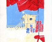 The Beach, art print, print of Acrylic painting ,beach cabin art, nautical art, red blue coastal art, beach print, beach art print