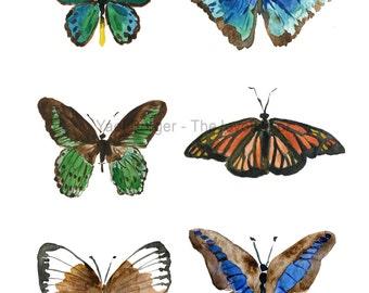 Butterflies art print, watercolor print, six butterflies print, nature art, wall art, paper size A3, butteries art, nature art, butterflies