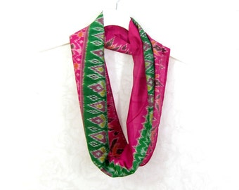 Green Pink Scarf Infinity Scarf Gift for Her Tribal Print Spring Scarf Summer Scarf Lightweight Scarf Sari Scarf Upcycled Scarf Eco Fashion