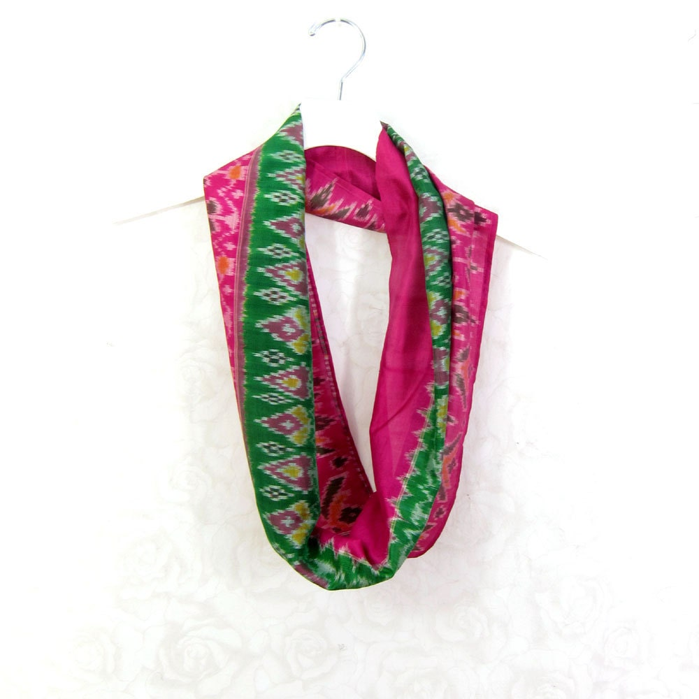 green pink scarf infinity scarf gift for tribal print