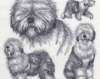 OLD ENGLISH SHEEPDOG Sketch- Machine Embroidery Quilt Blocks (AzEB