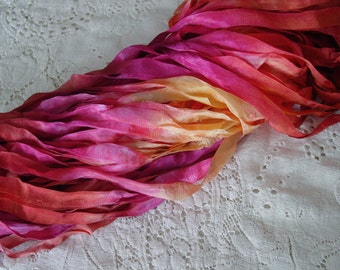 NeW - Hand Dyed half inch wide ribbon - AUTUMN PASSION, 5 yards