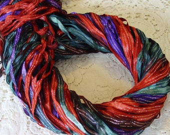 NEW - Hand dyed TAPESTRY quarter inch dazzle ribbon, 5 yards