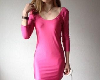 80s BODY CON Dress, Hot Pink Dress, Pink Mini Dress, Long Sleeve Tight Dress, Hot Pink Tight Mini Dress, Scoop Back, Soft Grunge Goth S M L