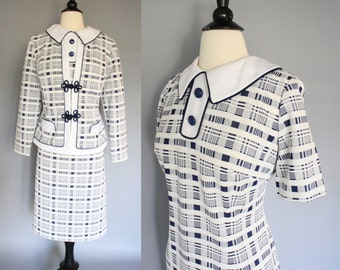 vintage 60s Mod Dress and Jacket / 1960s Navy Blue White Plaid Fitted Shift Dress Suit Harwyn / Large XL