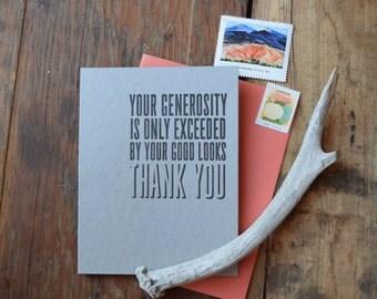 FYI-102-6 Thank you letterpress card set Your generosity 6 pack