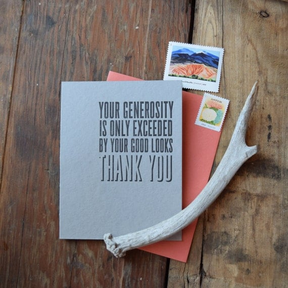 FYI-102-6 Thank you letterpress card set Your generosity 6 pack
